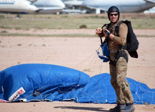 navy seal practicing parachute jump
