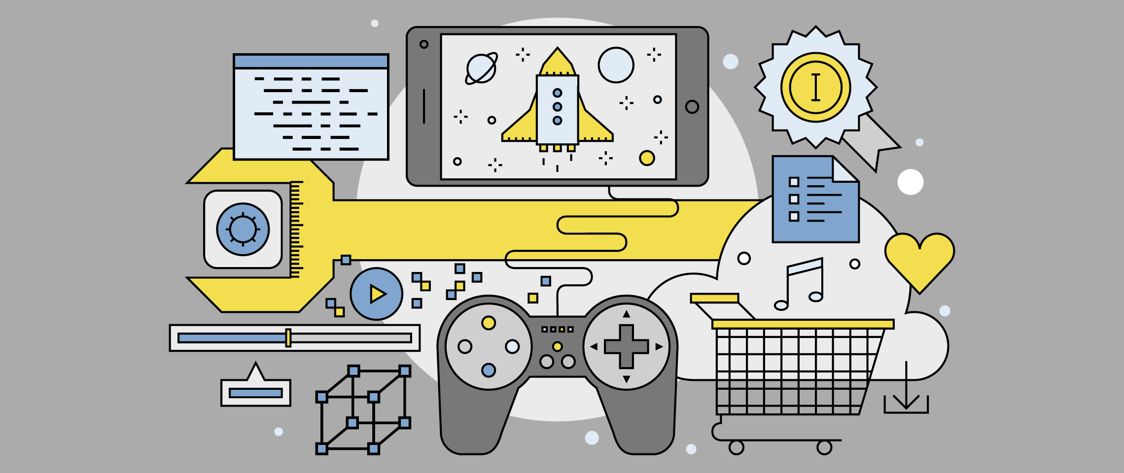 Illustration of elements of video games and game design